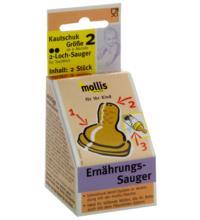 Mollis Kautschuk-Sauger, 2 Loch für Tee und Milch, 2 Stück -Größe 2-