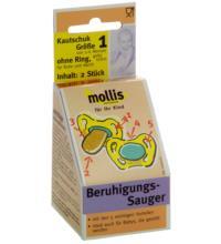 Mollis Kautschuk-Schnuller, ohne Ring, 2 Stück -Größe 1-