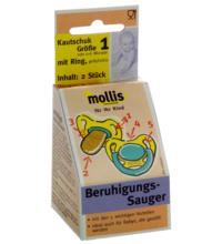 Mollis Kautschuk-Schnuller, mit Ring, 2 Stück -Größe 1-
