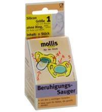 Mollis Silicon-Schnuller, ohne Ring, 2 Stück -Größe 1-