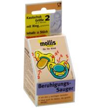 Mollis Kautschuk-Schnuller, mit Ring, 2 Stück -Größe 2-
