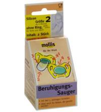 Mollis Silicon-Schnuller, ohne Ring, 2 Stück -Größe 2-