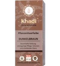 Khadi Pflanzenhaarfarbe Dunkelbraun, 100 gr Packung