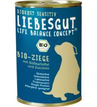 Liebesgut Hundefutter Adult Sensitiv Ziege mit Süßkartoffel & Zucchini, 400 gr Dose