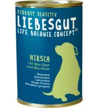 Liebesgut Hundefutter Adult Sensitiv Hirsch mit Obst & Hirse, 400 gr Dose