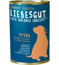 Liebesgut Hundefutter Adult Sensitiv Pferd mit Zucchini & Karotte, 400 gr Dose