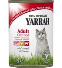 Yarrah Katzenfutter Bröckchen Huhn und Rind, 405 gr Dose
