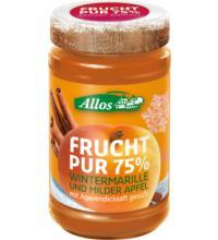 Allos Frucht Pur 75% Wintermarille, 225 gr Glas - 75% Fruchtgehalt -
