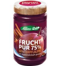 Allos Frucht Pur 75% Winterpflaume, 225 gr Glas - 75% Fruchtanteil -